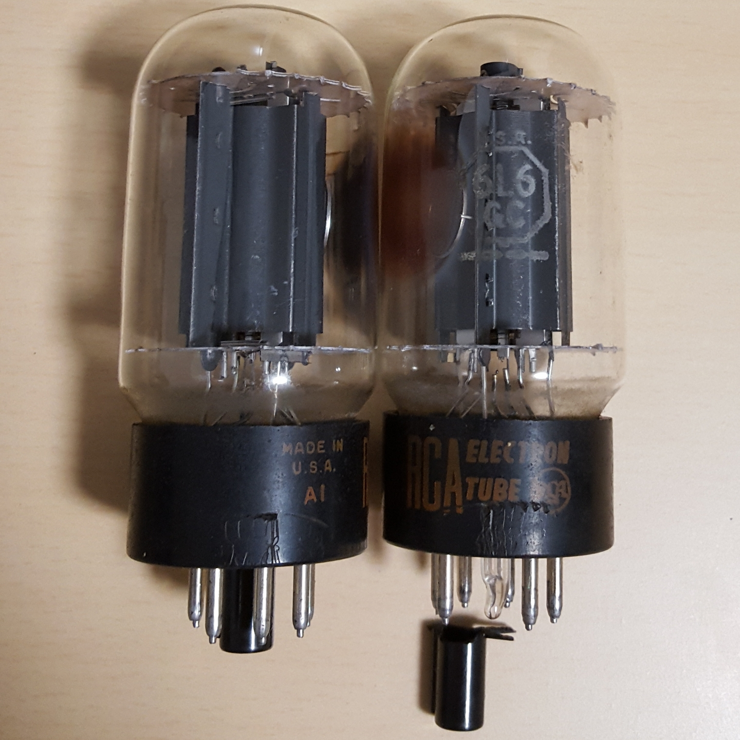 RCA 6l6GC Blackplate Valve Tubes Vintage Tube Matched Pair Duet Black Plate